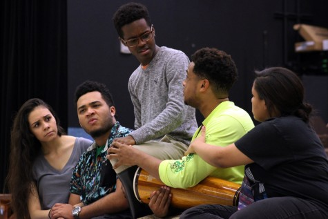 Junior Desirae Rubio, senior Joshua Wallace, junior Andreaon Watson, senior Julian Johnson and junior Adrienne Lee perform a scene from their one act play.