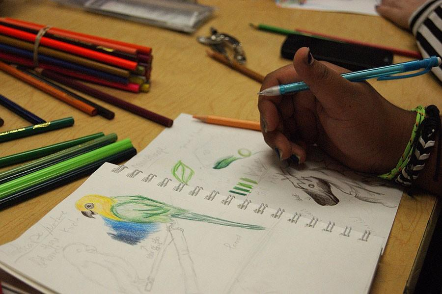 Junior Damaris Rodriguez  colors in a sketch from her sketchbook.
