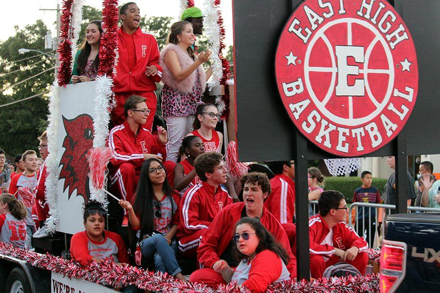 The theater float advertises this year's musical, High School Musical. Members of the cast and crew sung along to some of the music as the float drove by on Wednesday, Oct. 19.