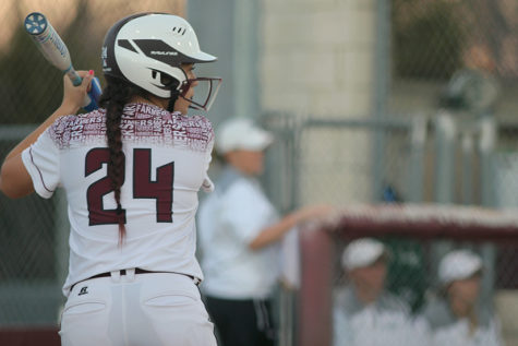 Senior Katrina Jackson (24) prepares for a pitch.