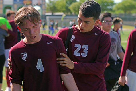 Seniors Brandon Barrows and Fabian Gutierrez reflect on the game loss against Sam Houston on Friday, April 7.