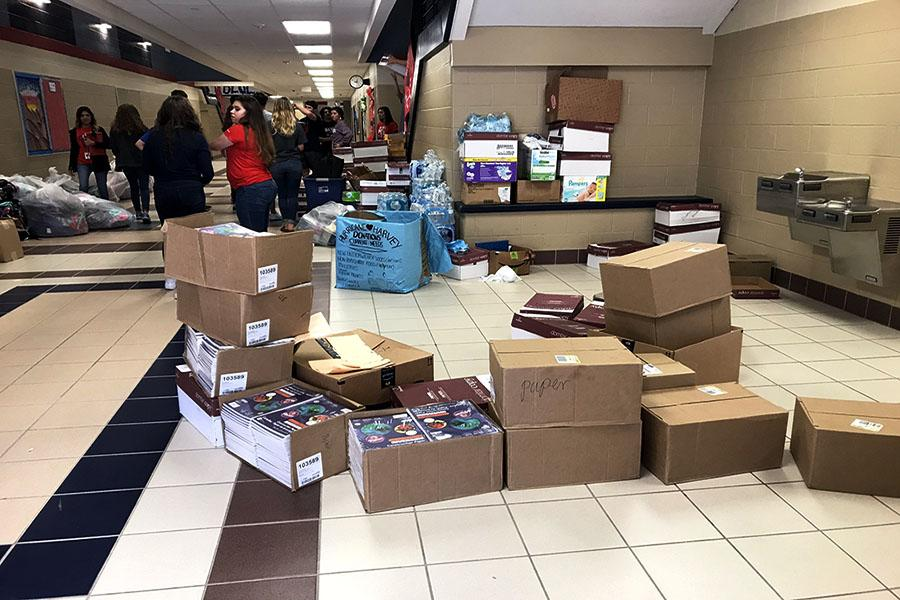 Boxes+of+school+supplies+sit+in+the+halls+at+Hardin-Jefferson+High+School+after+being+donated+on+Friday%2C+Sept.+22.+Photo+courtesy+of+David+Hernandez.