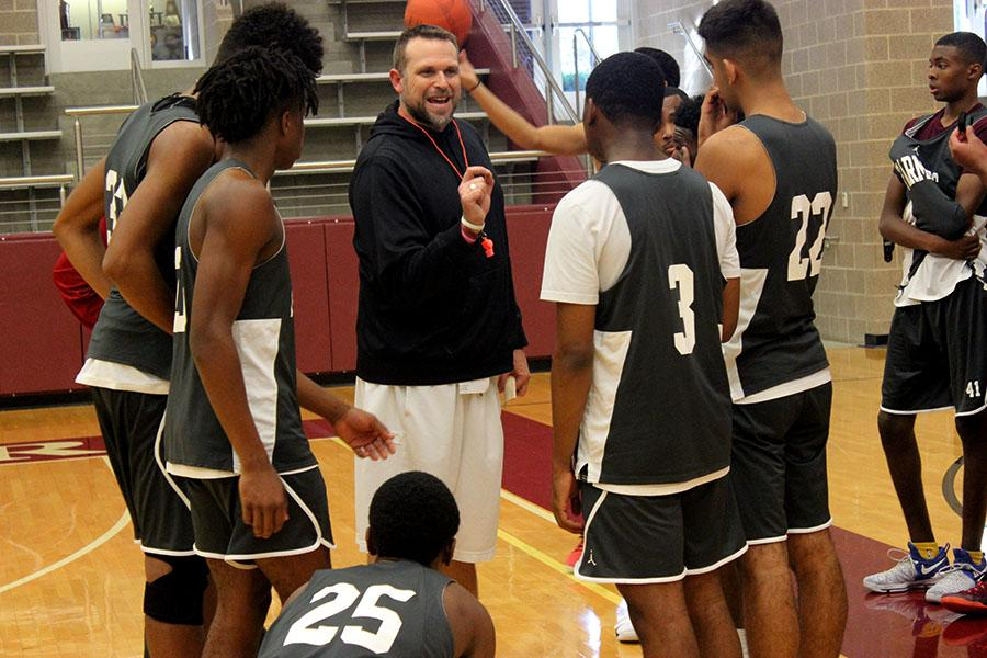 Head coach Jeff MeGown coaches the team during practice on Wednesday, Oct. 25.
