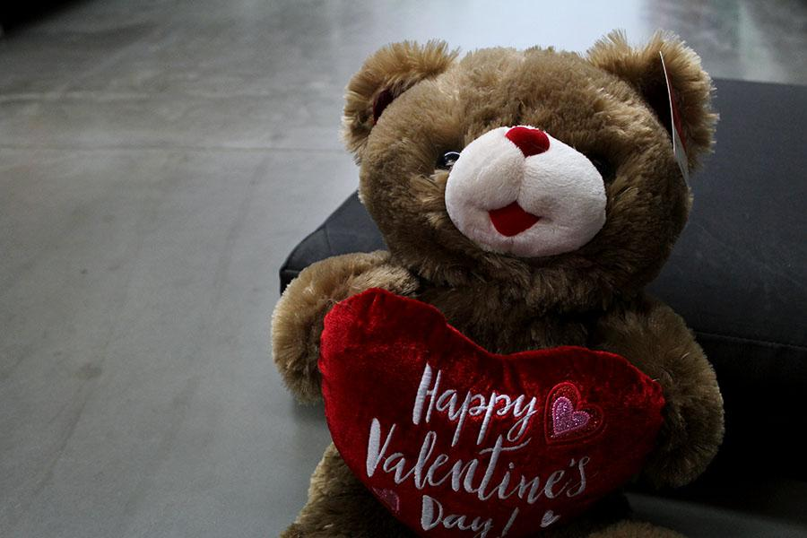 A festive teddy bear sits on the ground, propped up by a pillow.