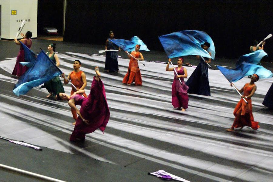 The winter guard presents their show