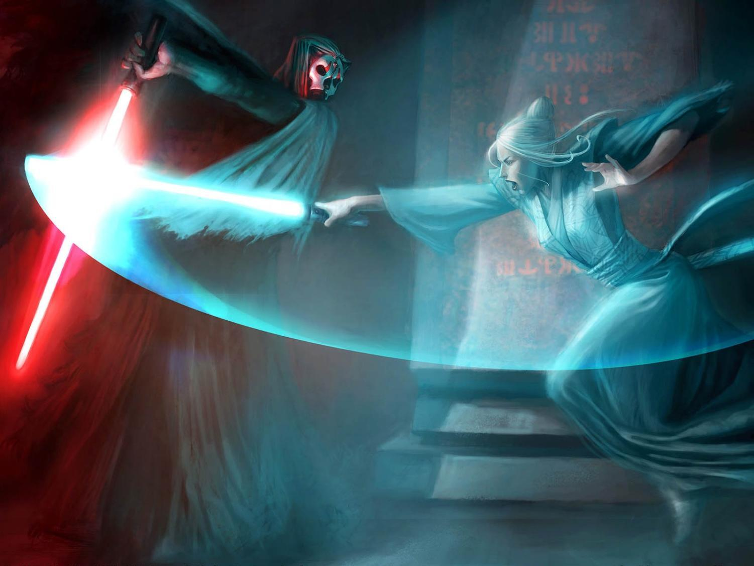 Darth Nihilus engages in a duel with Jedi Master Atris. Promotion image courtesy of LucasArts.com.