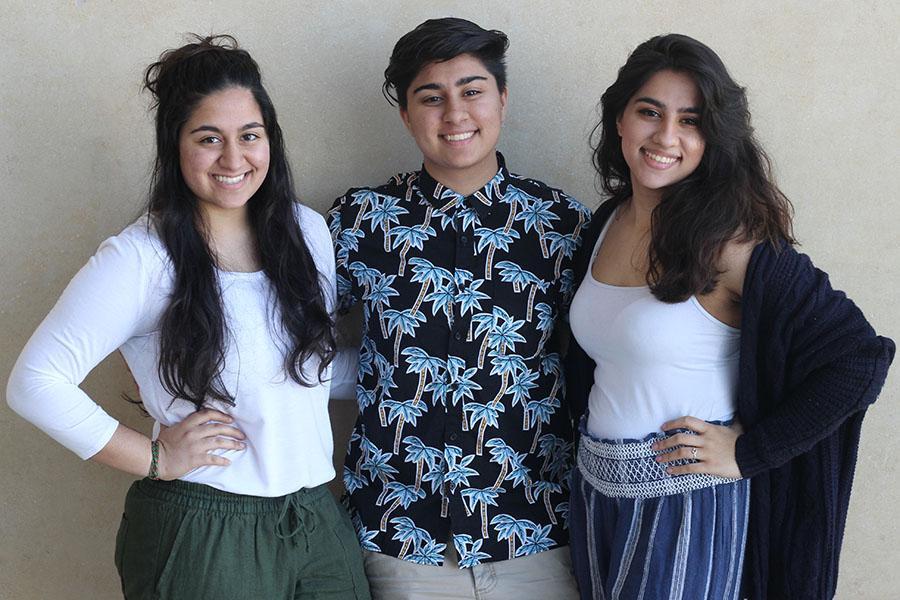 The triplets align: Mahek, Samiha and Nida Jaffer.