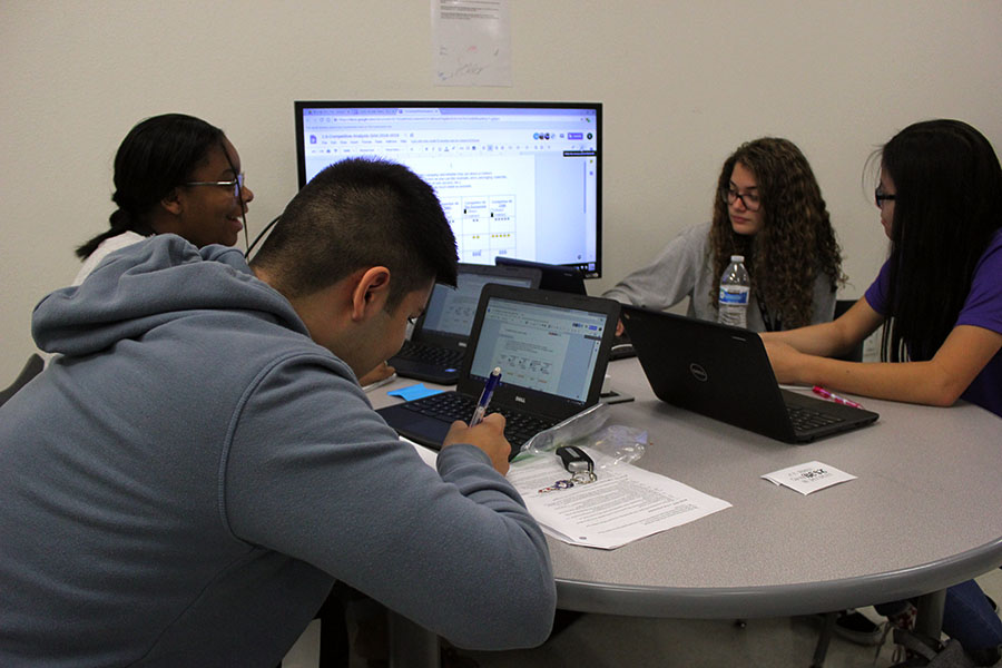 Students in the first period INCubatoredu class work on their business model on Wednesday, Sept. 12.