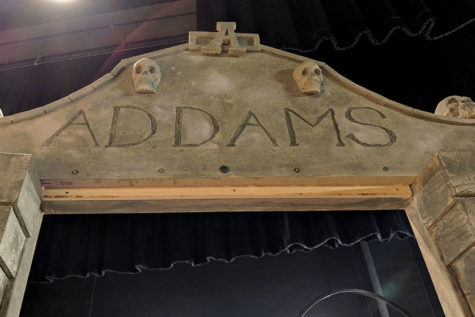 The entrance to the graveyard is displayed on the auditorium stage. Courtesy of Tonya Cauduro.
