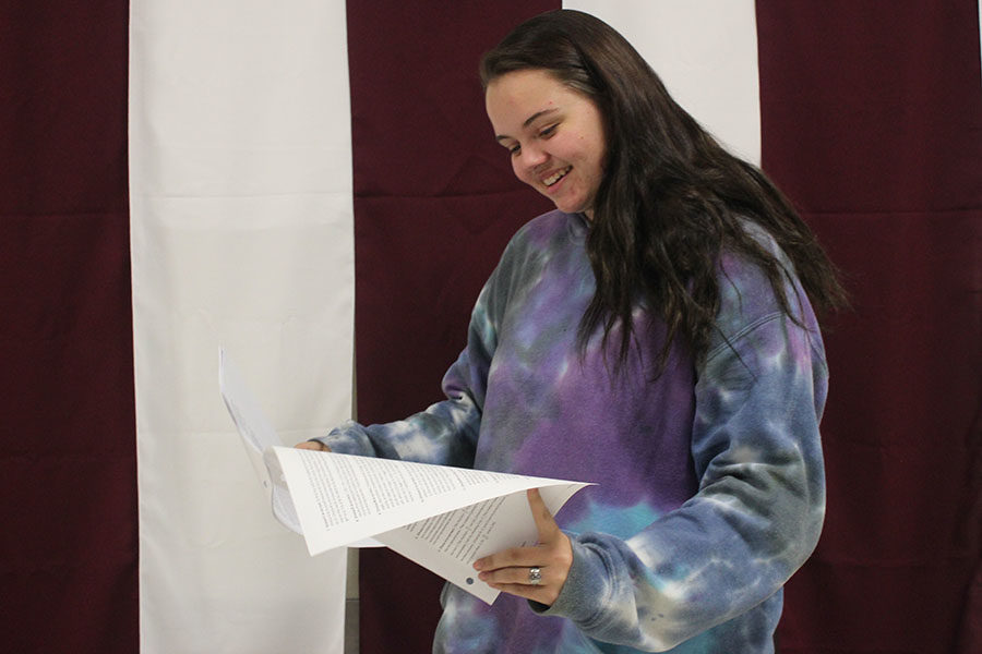 Senior+Emily+Godwin+recites+her+lines.