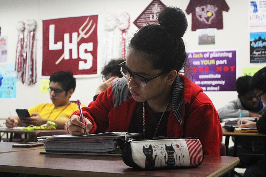 Senior Sonia Adhikari works on her math material during third period AcDec on Thursday, Nov. 8.