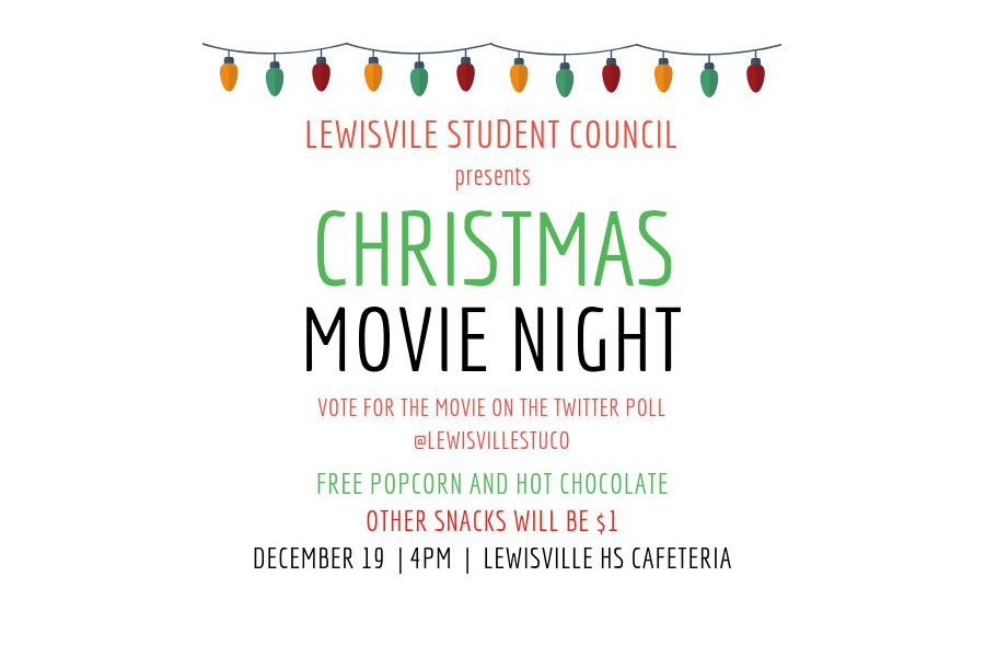 Student council's first-ever movie night will be held after school on Wednesday, Dec. 19. Courtesy of Student Council.