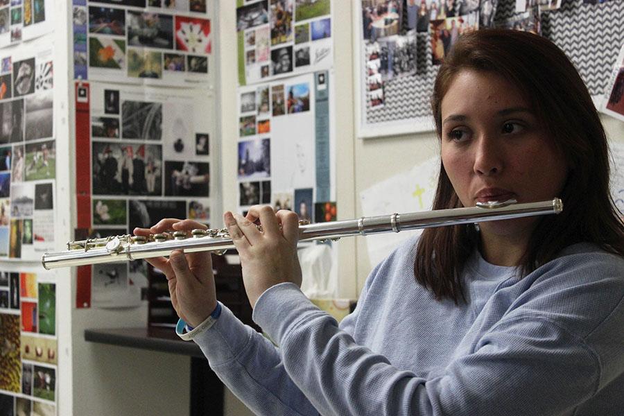 Senior Alyssa Longoria plays her flute during B block on Thursday, Feb. 21.