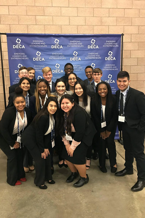 DECA students pose for a picture. Courtesy of Valerie Cooper.