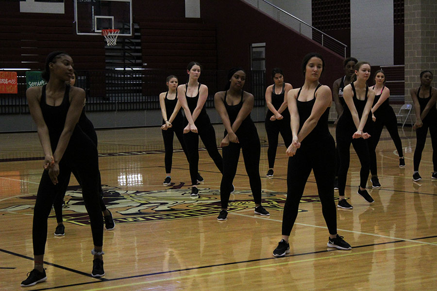 The Farmerettes practice their competition routines during third period on Monday, Feb. 4.