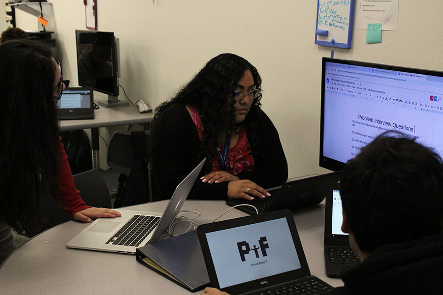 Seniors Yuridian Leonides, Rosario Solarzano Secundino and Isac Garcia prepare questions for interviews during second period on Thursday, Feb. 2.