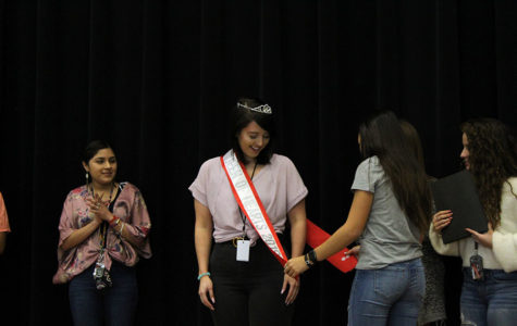 Senior Jordon Johnson is crowned Queen of Hearts on the stage during B block on Thursday, Feb. 14.