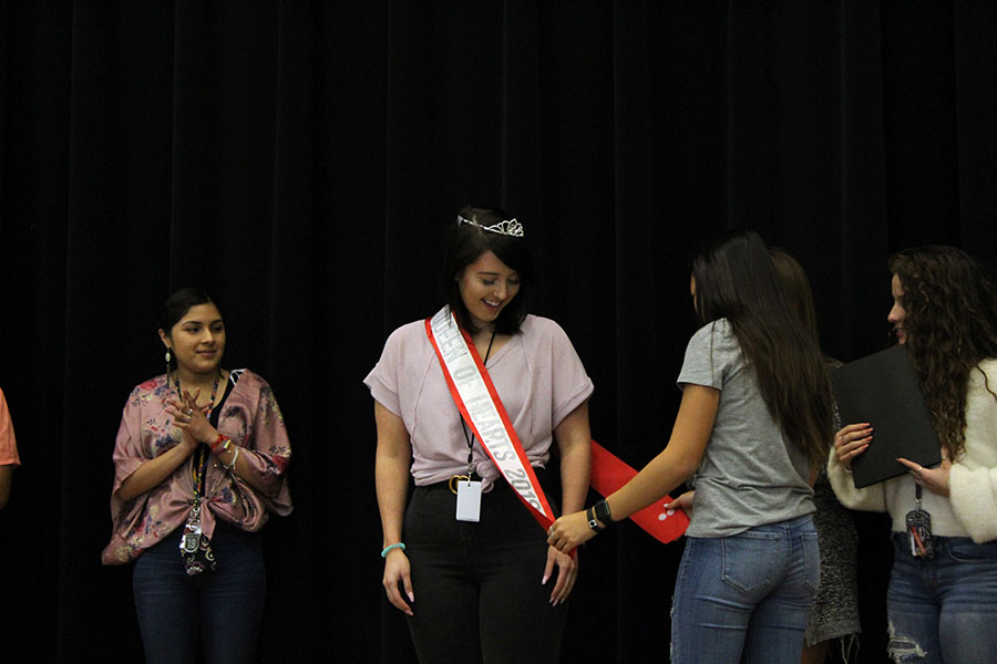 Senior Jordon Johnson is crowned Queen of Hearts on the stage during B block on Thursday, Nov. 14.
