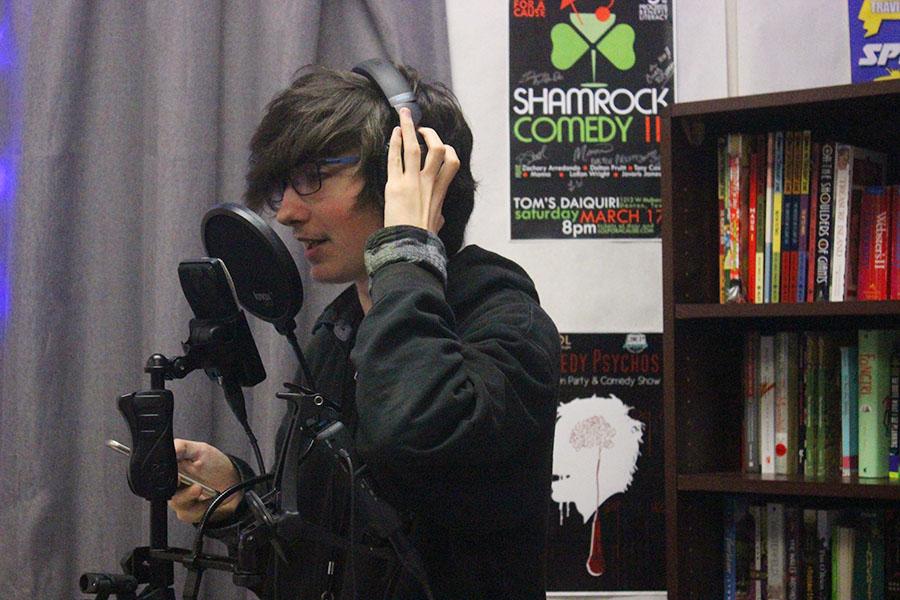 Senior Leo Ferary practices his voice acting during block lunch.