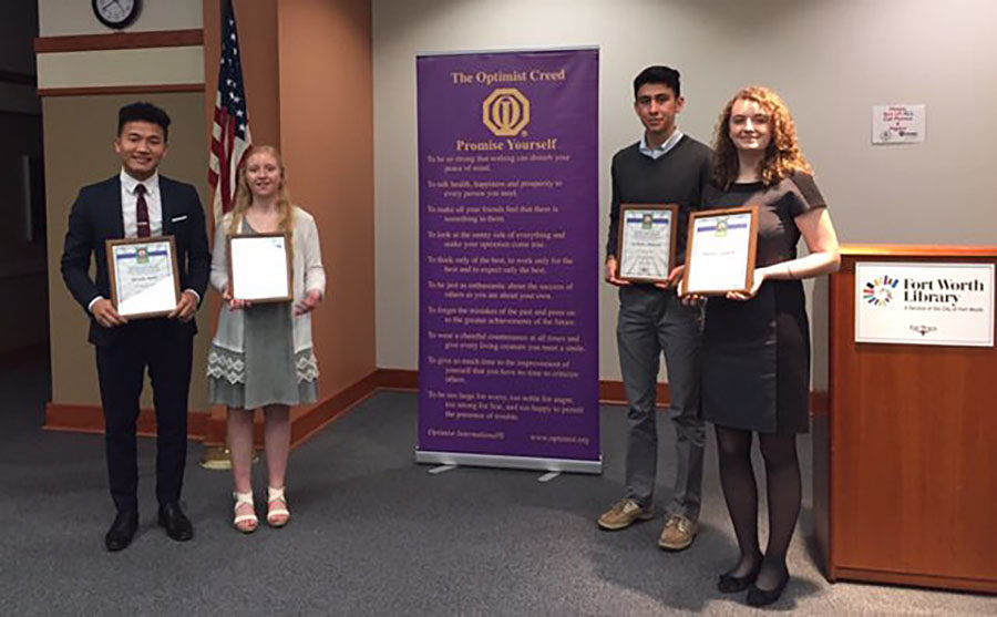 Speech and Debate members display their awards at the Optimist Club Oratorical Zone Speech Contest on Saturday, March 23. Courtesy of Liana Massengale.