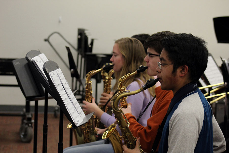 The jazz band's saxophone section rehearses during practice after school on Wednesday, March 6.