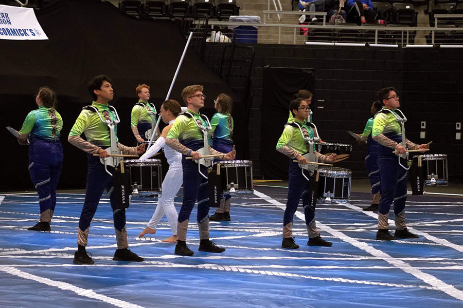 The+drumline+performs+their+show%2C+%22Balancing+Act%2C%22+at+the+Winter+Guard+International+competition+on+Saturday%2C+March+2.+Courtesy+of+the+Lewisville+Band+Booster+club.
