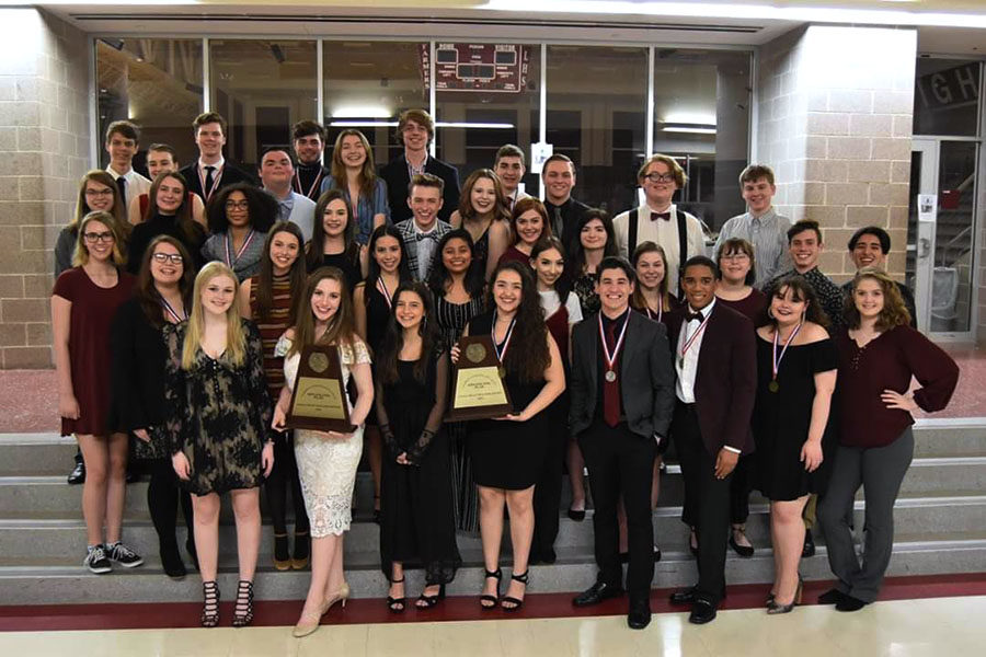 Theater+members+display+their+awards+after+advancing+to+bi-district+on+Friday%2C+March+22.+Courtesy+of+Lewisville+Theatre.