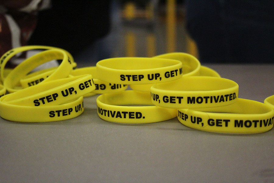 Step Up bracelets are displayed on a table at the Farmer's Market on Tuesday, April 16.