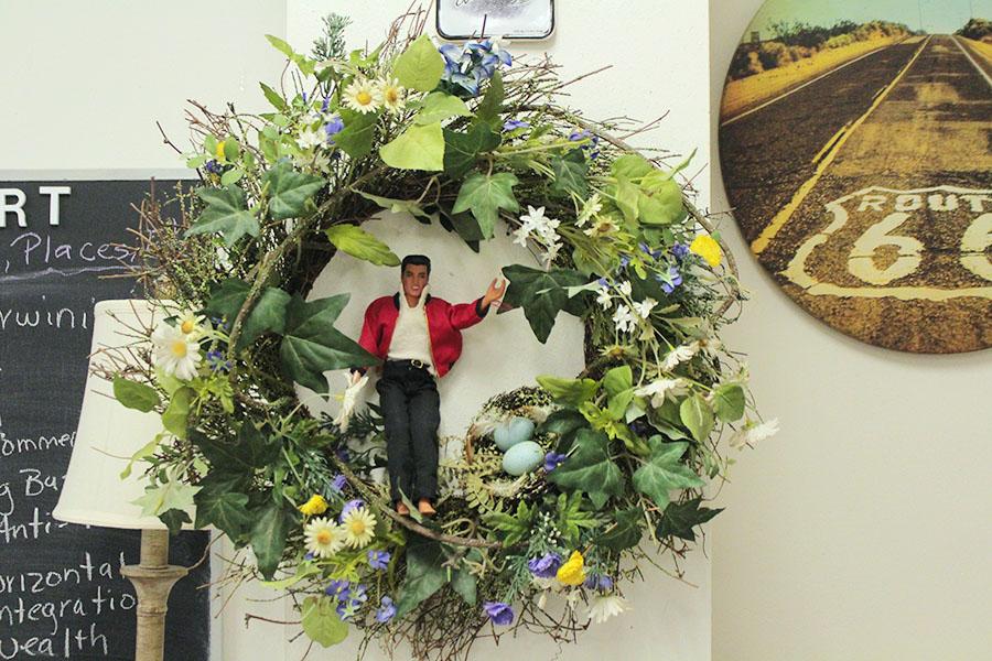 An+Elvis+Presley+themed+wreath+hangs+up+in+Alexander%27s+room.