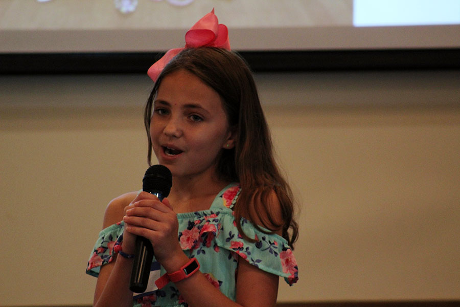 Ten-year-old entrepreneur Averie Cooper gives a presentation about her company, Color Kingdom at Lewisville Soup on Friday, Sept. 13..