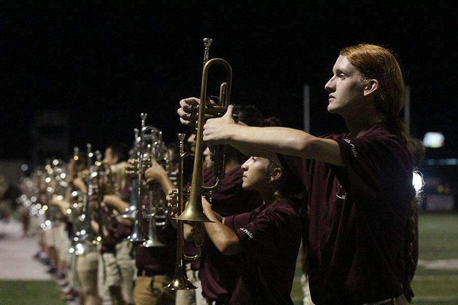 Junior+Aled+Jones-Duffey+holds+his+trumpet.+