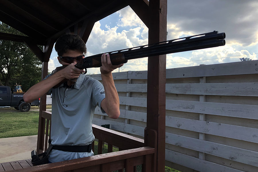 Junior Parker Whittenburg shoots at a sporting clays station on Tuesday, Sept. 10. Courtesy of Robert Whittenburg.