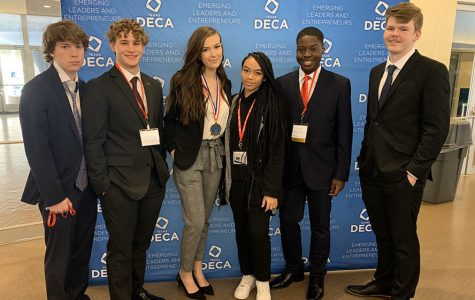 Six DECA students competed in the state competition on Friday, Feb. 21. Courtesy of Valerie Cooper.