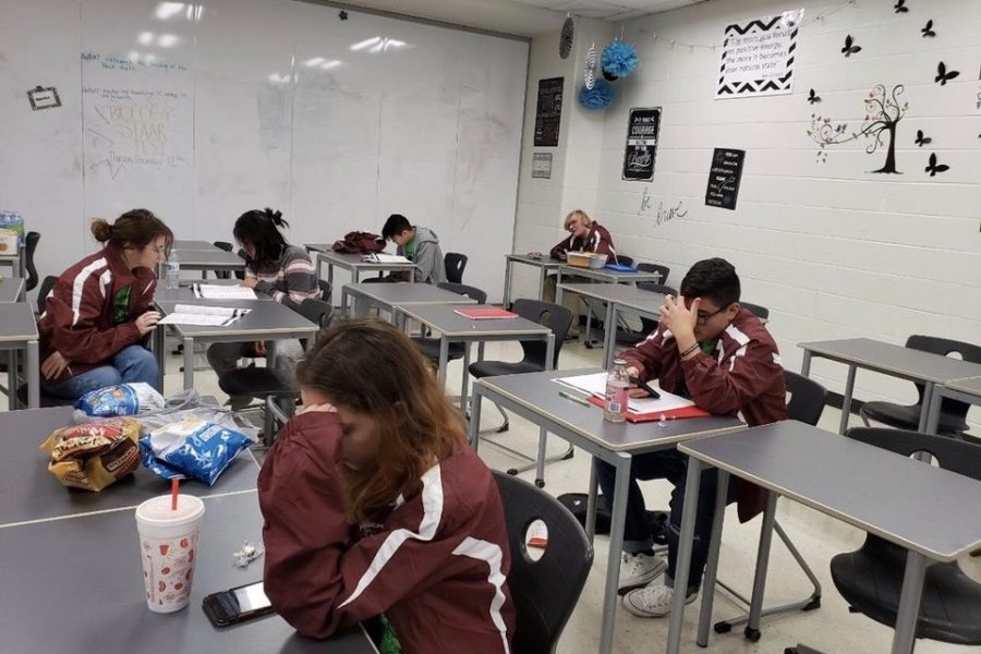 Decathletes attend the Academic Decathlon district competition on Saturday, Dec. 14. Courtesy of Amber Counts.