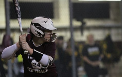 Senior Allie Barentine steps up to bat during the softball game on Friday, Feb. 14 against Frisco Memorial.