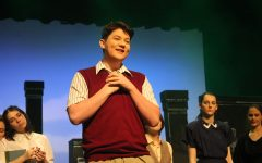 Junior Ben Washington rehearses his lines for 'The Book of Everything.'
