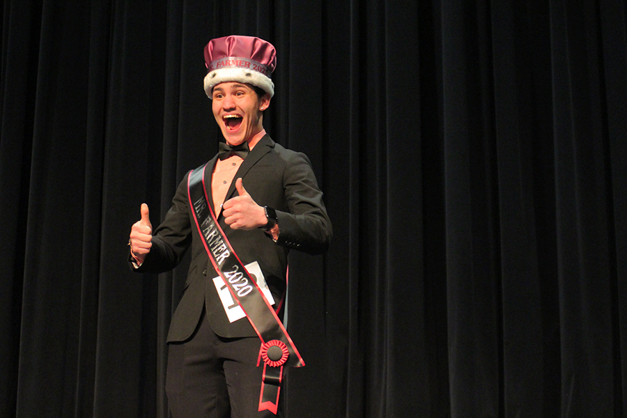 First place winner of Mr. Farmer senior Jimmy Piraino poses with a thumbs up after being crowned.