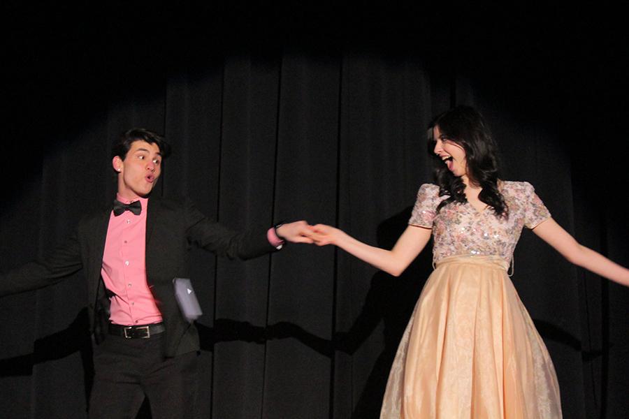 Senior Sophia Cauduro escorts senior Jimmy Piraino, spinning him in a dramatic fashion.
