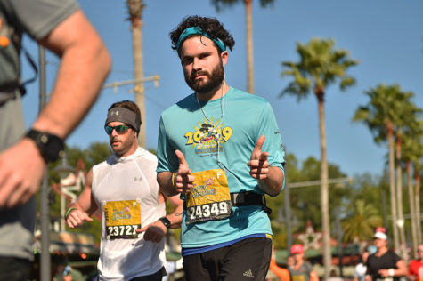 Geometry teacher Samuel Hawke strikes a pose while running during the Disney World Marathon in Orlando, Florida on Sunday, Jan. 13, 2019. Courtesy of Samuel Hawke.