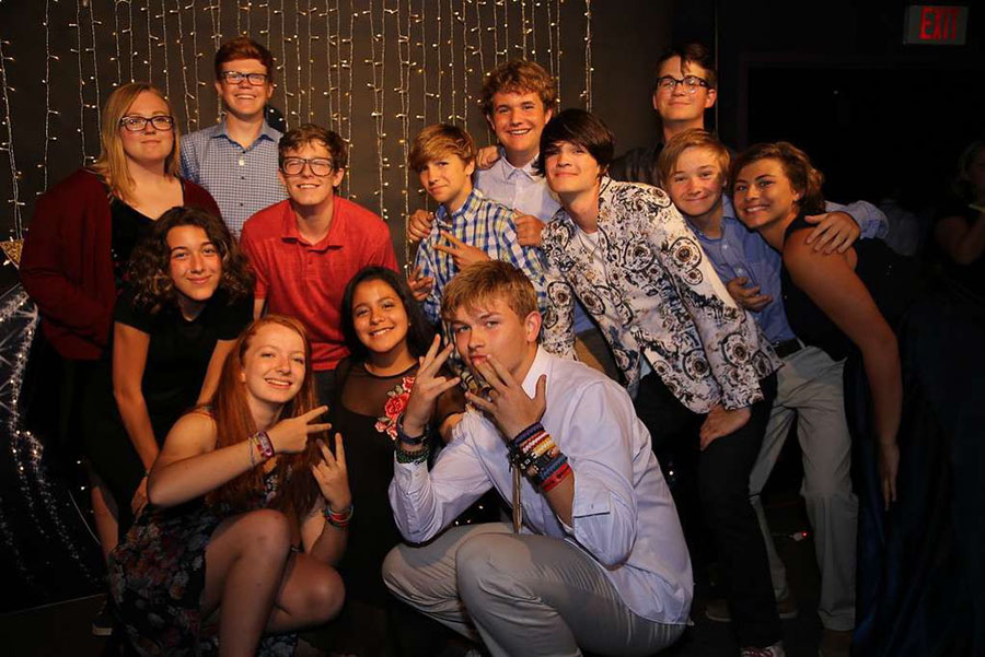 Senior Alexa Vargas and campmates celebrate at the 2018 Camp Sweeney end-of-camp banquet.