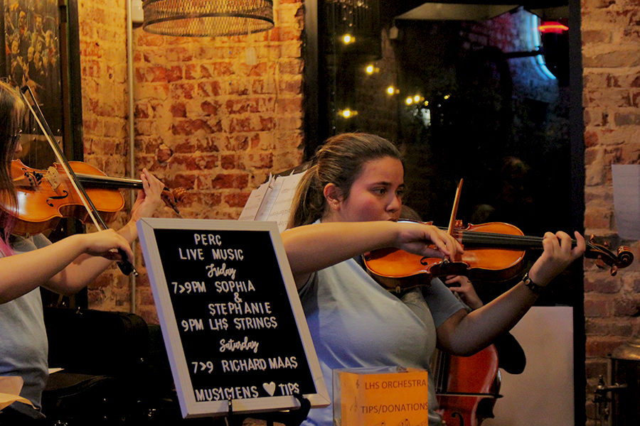 Senior+Amy+Rodriguez+plays+her+violin+and+senior+Lillian+Chambliss+plays+her+viola+at+The+Perc+Coffeehouse+on+Friday%2C+Oct.+25.
