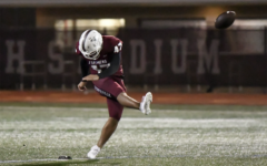 Senior kicker Hector Calderon (47) kicks the ball during the game against Irving Nimitz on Friday, Oct. 25. The Farmers won the game 56-7. Photo courtesy of Nick Olla.