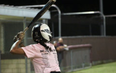 Senior team captain Sierra Nixon steps up to the plate to bat during the Battle of the Bats game on Wednesday, Oct. 23.