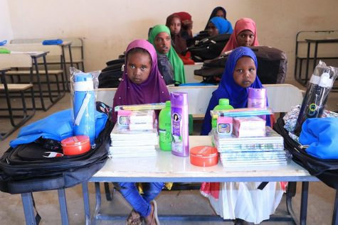 Students in Somalia receive school supplies purchased through GoFundMe donations.