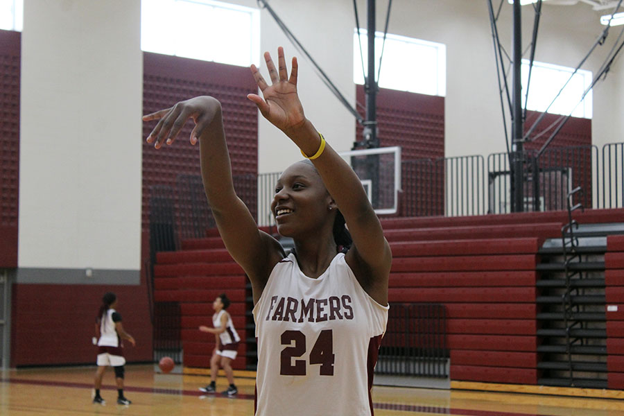 Senior power forward Sydnee Savage makes a basket during first period practice on Wednesday, Oct. 23.