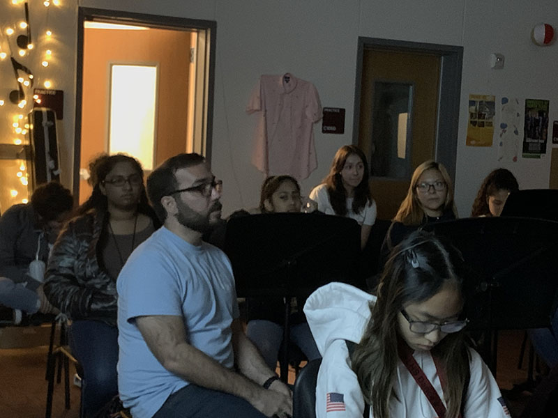 Orchestra director James Zauner talks to students during the suicide prevention lesson on Monday, Nov. 11.