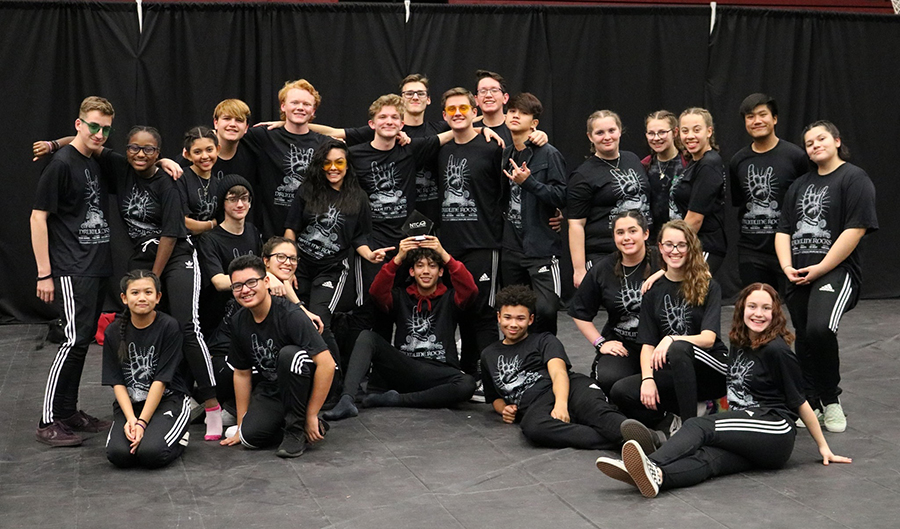 All+of+drumline+poses+for+a+group+photo%2C+showing+off+their+first+place+award+on+Saturday%2C+Feb.+8+at+Main.+Courtesy+of+Neil+Berthelot.